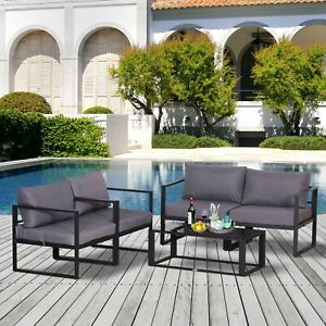 Outsunny 4pcs Garden Sectional Sofa Set Table Furniture  Aluminum w/ Cushion