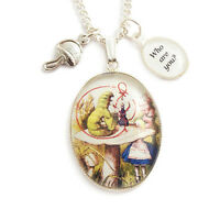 ALICE IN WONDERLAND necklace Caterpillar mushroom charm silver cheshire cat