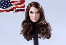 "1/6 Female Head Sculpt Long Brown Curly Hair For 12"" Hot Toys PHICEN Figure USA"