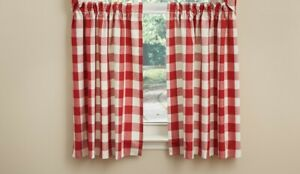 Red Cream Wicklow Tier Curtains Buffalo Check Country Farmhouse 72WX36L