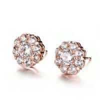 Flower Style Multi Natural White Fire Topaz Gems Rose Gold Plated Stud Earrings