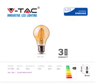 V-TAC LED Bulb, Filament Amber Bulb, 6W E27 A60 - Warm White