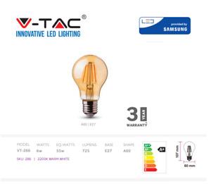 V-TAC LED Bulb, Filament Amber Bulb, 6W E27 A60 - Warm White