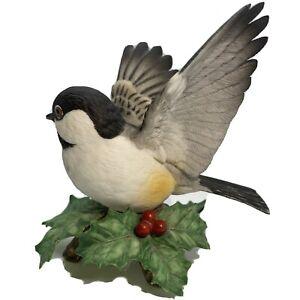 "Lenox Porcelain Hand Painted Chickadee Bird Figurine 4""T Vintage Japan Y306"