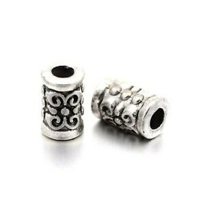 Antique Silver Tibetan Zinc Beads Tube Spacer 5 x 7mm Pack Of 30