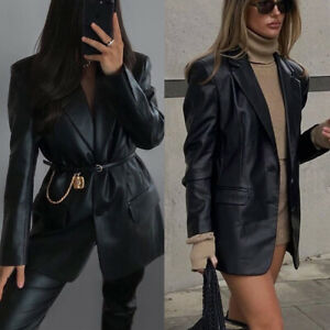 Womens Faux Leather Blazer Long Tops Ladies Cool Coats Jackets Long Sleeve Suit