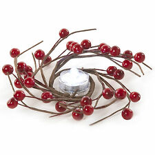 3.5cm Christmas Party Matte Red Berries Candle Holder Ring Table Decoration