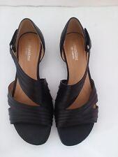 Naturalizer N5 Comfort Black Leather Wedge Sandals Slides Shoes 7M MSRP $79