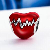 Hot Red Enamel 925 Sterling Silver Love Heart Electrocardio European Charm Bead