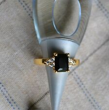 24K Yellow Gold Filled Rhinestone Black Women Ring Size 7