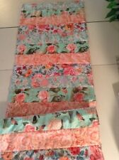 Handmade Peachy Floral  Quilted Table Runner/Scarf 16 x 45 ins