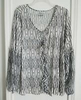 Lane Bryant Top Size 14/16 Black White Long Sleeve Womens Blouse