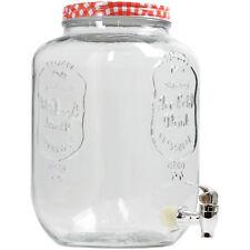 Tarro de Vidrio Claro Barril de 8 Litros Bebida Cóctel Dispensador De Bebidas Rojo de almacenamiento
