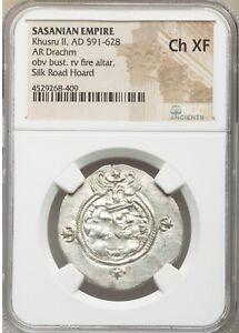 Sasanian Empire Khusru II AD 591-628 NGC Choice XF Silk Road Hoard Drachm