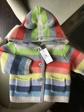 NWT BABY GAP BOY GIRL WOVEN KNIT CARDIGAN SWEATER BEAR EARS COLORFUL STRIPES 3-6