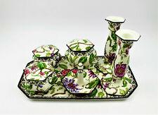 Antique Wedgwood England Imperial Porcelain Painted Dresser Set Powder Jar