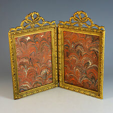 Antique Bow Top Gilt Bronze Double Picture Photo Frame