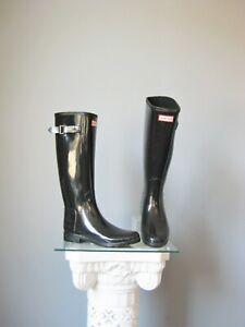 Hunter Original Tall Gloss Rain BOOTS Black US 7