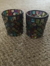 Set Of Two Multicolored Tealight Holders.