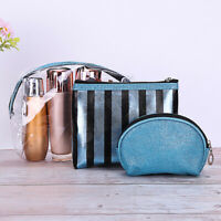 3Pcs/Set Women Clear Stripe Wristlet Travel Makeup Cosmetic Storage Bag Newly
