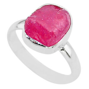 5.82cts Solitaire Natural Pink Ruby Rough 925 Sterling Silver Ring Size 8 T33493
