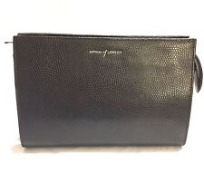 Brand New Aspinal Of London Medium Black Lizard & Purple Cosmetic Case
