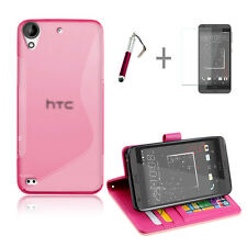 HOT PINK Wallet 4in1 Accessory Bundle Kit Case Cover For HTC Desire 530 630