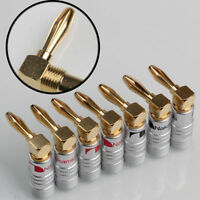 4pcs Japan Nakamichi Banana Plug 24K Gold Plated Right Angle Screw Connector