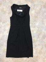 BCBG Paris Women's Black Polyester Blend Lined Sleeveless A-Line Dress Sz 2