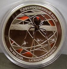 2011 TUVALU RED BACK SPIDER DEADLY DANGEROUS 1 oz. SILVER COIN RUSSIAN VERSION