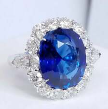 3.48 ct Oval Blue Sapphire & Simulated Diamond Women's Royal Halo Ring Silver