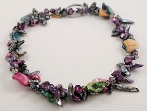 39'' Multicolour Baroque Pearls Seashell Necklace with A Twist
