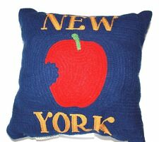 """Pottery Barn New York City Crewel Embroidered Pillow 12"""" Big Apple  Discontinued"""