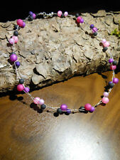Neu unikat rosa lila pink Polariskette Halskette Collier Polaris perlen kette