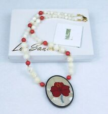 Lee Sands Red White Stones Poppy Flower Pendant Necklace Mother of Pearl NEW