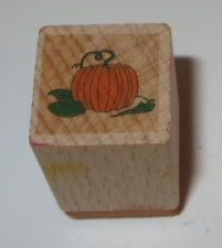 "Pumpkin Vine Rubber Stamp Halloween Fall Patch Mini 3/4"" Square Wood Mounted"