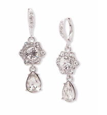 Givenchy Silvertone Faceted Stone Drop Earrings Brand New