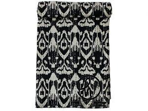 Indian Handmade Kantha Quilt Cotton Bedspread Black Blanket Twin Size Hobo Ralli