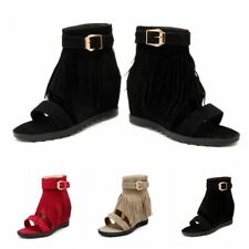 35-43 Summer Women Tassels Gladiator Roman Sandals Ankle Buckle Boot Shoes Zip L