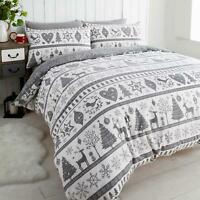 Grey Duvet Covers Scandi Stags Reversible Christmas Quilt Cover Bedding Sets
