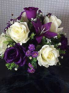 New Stunning Artificial Flower Arrangement Purple/Ivory In Black Pot For Grave