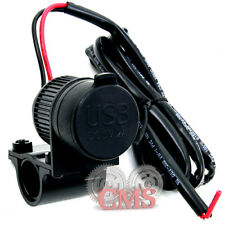 """Black USB Dual Plug Charger for 7/8"""" & 1"""" Harley Handlebars Handle Bars Phone"""