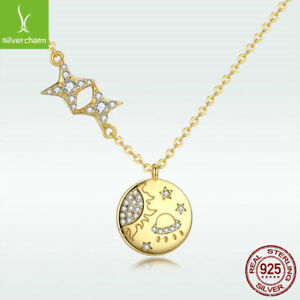 New Design 925 Sterling Silver Necklace 14K Gold Star Galaxy Charm Chain Jewelry