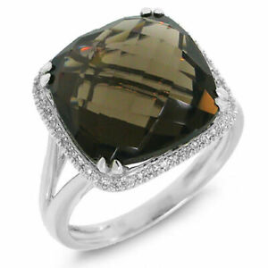 8.74 TCW 14K White Gold Cushion Smoky Quartz Gemstone Diamond Cocktail Ring