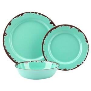Dinnerware Set Rustic Melamine Green 12 Pc Kitchen Farmhouse Dishes Plates New