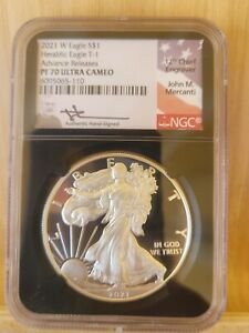 2021 W SILVER EAGLE TYPE 1 T1 FDI FIRST DAY NGC PF70 ADVANCE RELEASES  MERCANTI