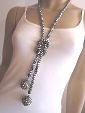 Modekette lang Modeschmuck Damen Hals Kette 2 x Strass Kugel Silber geschwärzt