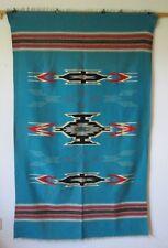 """Vintage Turquoise Chimayo Wool Blanket 48"""" X 79"""""""