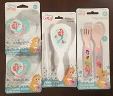 Disney Baby Set Girl Little Mermaid Brush Comb Pacificers Princess Fork Spoon
