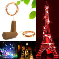 2M 20LED Solar Cork Wine Bottle Stopper Copper Wire String Light Fairy Lamp NEW